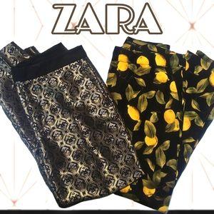 Zara lemon and metallic Jacquard cropped pants
